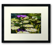 Waterlilies Impressions – Purple Duo Shimmer Framed Print