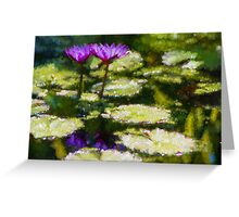 Waterlilies Impressions – Purple Duo Shimmer Greeting Card