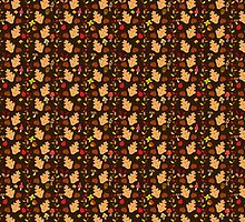 Dark Brown Autumn Leaves and Mushrooms Pattern by SaradaBoru