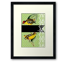 Striking Birds on Green Damask and Lace Framed Print