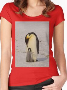 Mother And Baby Penguin  Women's Fitted Scoop T-Shirt
