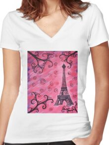 Eiffel Tower in Pink Women's Fitted V-Neck T-Shirt
