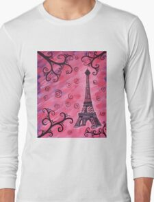 Eiffel Tower in Pink Long Sleeve T-Shirt