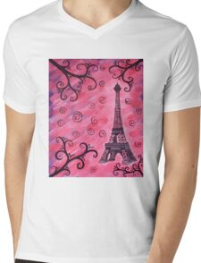 Eiffel Tower in Pink Mens V-Neck T-Shirt