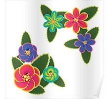 Colorful Tropical Flowers Poster