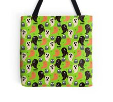Cute Halloween Ghosts Green Pattern Tote Bag