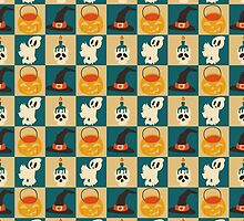 Kawaii Halloween Checkered Pattern by SaradaBoru