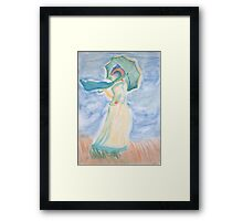 Monet's Woman With Parasol Turned To Left Framed Print