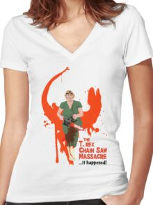 The T. rex Chainsaw Massacre Women's Fitted V-Neck T-Shirt