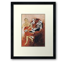 Tiger and Human Framed Print
