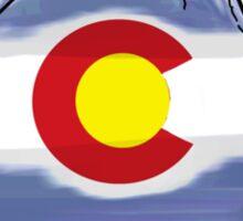 Colorado mountain water color flag Sticker