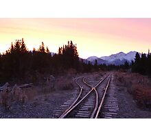 White pass and Yukon railroad at sunrise Photographic Print