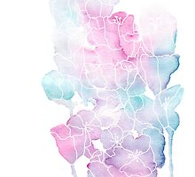 Pink and Blue Watercolor Flowers by dinafiala