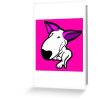 Pink Ears English Bull Terrier Puppy Greeting Card