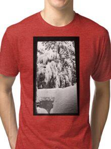 snow falling through window Tri-blend T-Shirt