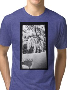 snow falling through window Tri-blend T-Shirt