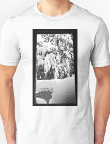 snow falling through window Unisex T-Shirt