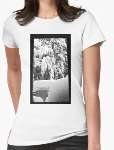 snow falling through window Womens Fitted T-Shirt