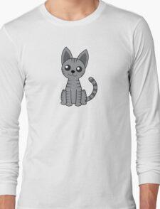 Gray Stripey Cat Long Sleeve T-Shirt