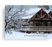Snow scene with cabin Canvas Print