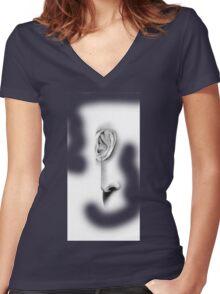 EAVESDROP Women's Fitted V-Neck T-Shirt