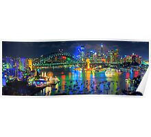 City Of Light - Sydney Harbour Fantasy (25 Exposure HDR Pano)- The HDR Experience Poster