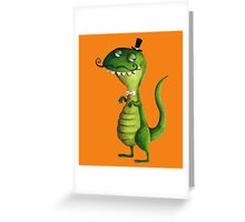 Sir T-rex with Fancy Mustaches Greeting Card