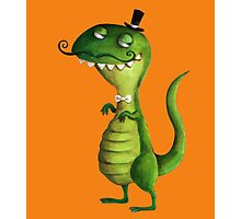 Sir T-rex with Fancy Mustaches Photographic Print
