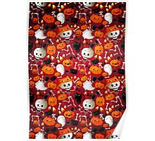 Halloween - Skeletons, cats and pumpkins Poster