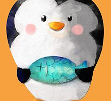 Cute Penguin and Dead Fish by colonelle