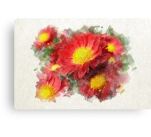Chrysanthemum Watercolor Art Canvas Print