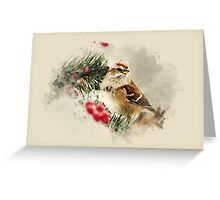 American Tree Sparrow Watercolor Art Greeting Card