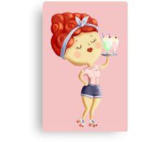 Pin Up Waitress Canvas Print