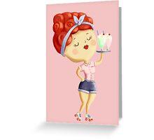 Pin Up Waitress Greeting Card