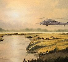 Pave Hawk Helicopter HH-60 On A Mission by bill holkham