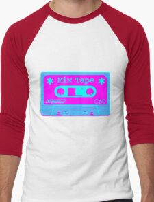 Psychedelic Mix Tape - Cyan and Magenta Men's Baseball ¾ T-Shirt
