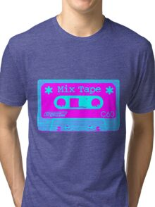 Psychedelic Mix Tape - Cyan and Magenta Tri-blend T-Shirt