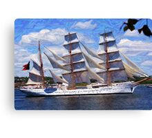 """Old Sails - The """"Sagres"""" in Halifax Harbour Canvas Print"""