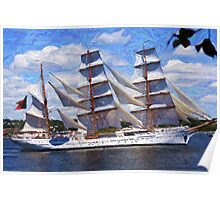 "Old Sails - The ""Sagres"" in Halifax Harbour Poster"