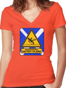 WARNING - SKITEY FLAIR Women's Fitted V-Neck T-Shirt