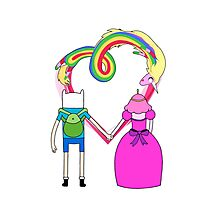 Adventure Time - Finn and Bubblegum in Love Photographic Print