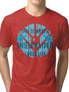 this is what a shieldmaiden looks like #2 Tri-blend T-Shirt