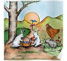 Easter Basket Vintage Illustration Poster