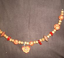 Bright orange shades of red...choker by anaisnais