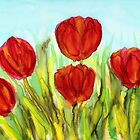 Red Tulips by Caroline  Lembke