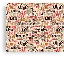 Love Typography Brown Canvas Print