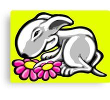 English Bull Terrier Daisy Canvas Print