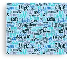 Love Typography Blue Canvas Print