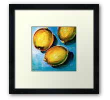 Lemons on Blue Canvas Framed Print