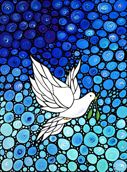 Peacefull Journey - White Dove Print Blue Mosaic Art by Sharon Cummings